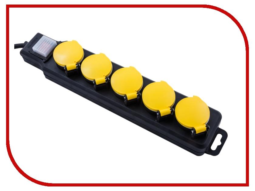 Сетевой фильтр Electraline 5 розеток 5m IP44 H07RN-F Black 62660<br>