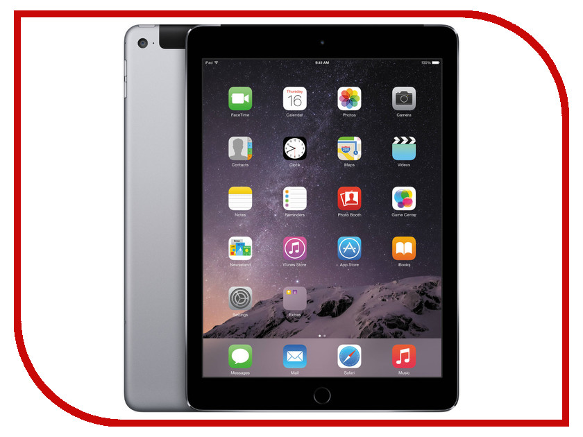Планшет APPLE iPad Air 2 64Gb Wi-Fi + Cellular Space Grey MGHX2RU/A apple ipad air 2 64gb wi fi space gray