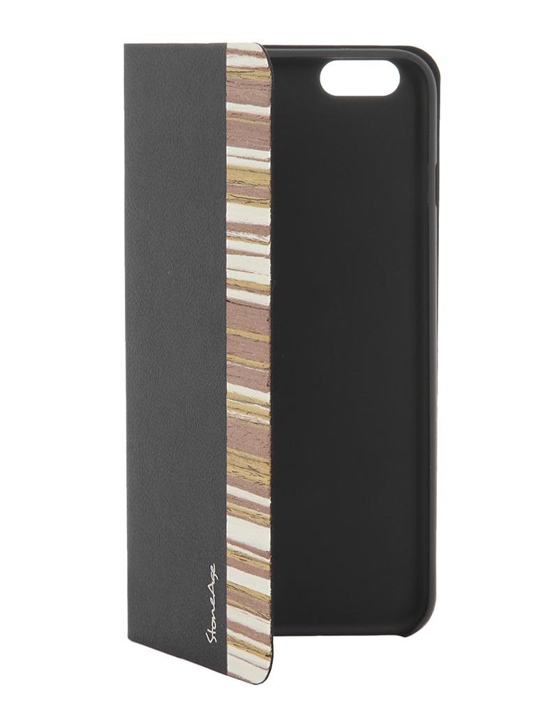 Аксессуар Чехол-накладка Stone Age Jungle Collection Wood Skin for iPhone 6 Plus Black W8580