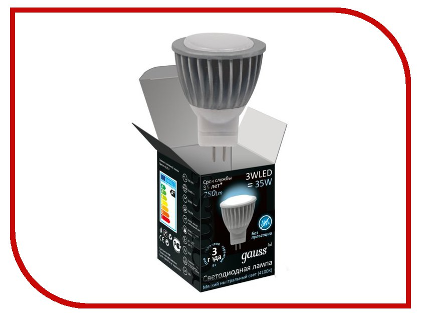 Лампочка Gauss LED GU4 MR11 3W AC220-240V 4100K FROST 132517203