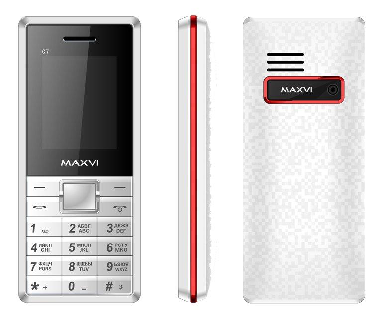 Сотовый телефон Maxvi C7 White-Red<br>