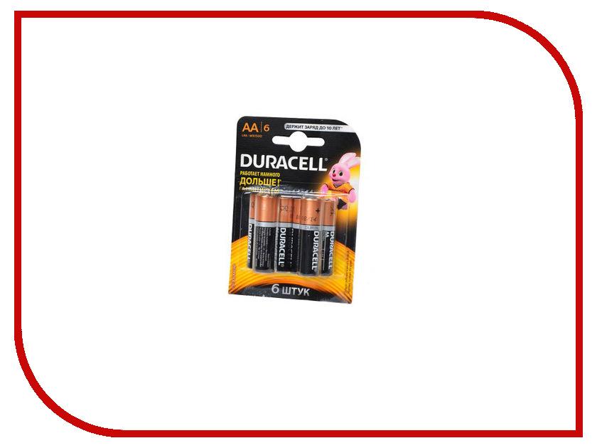 Батарейка AA - Duracell LR6 BL6 (6 штук) аккумуляторы duracell hr06 aa