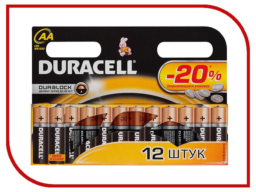 Батарейка AA - Duracell LR6 BL12 (12 штук) батарейки duracell basic lr6 4bl aa 4 шт
