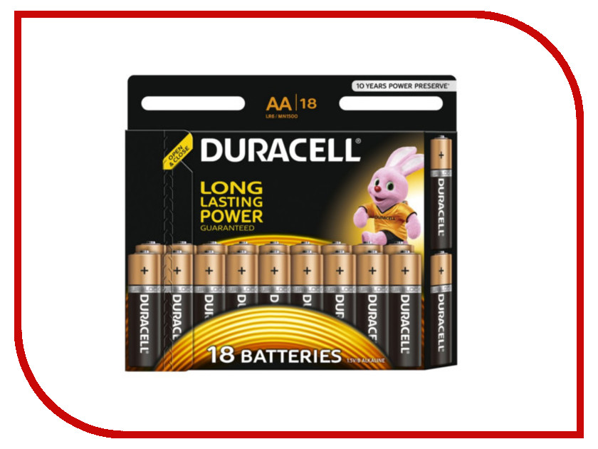 Батарейка AA - Duracell LR6 BL18 (18 штук) аккумуляторы duracell hr06 aa