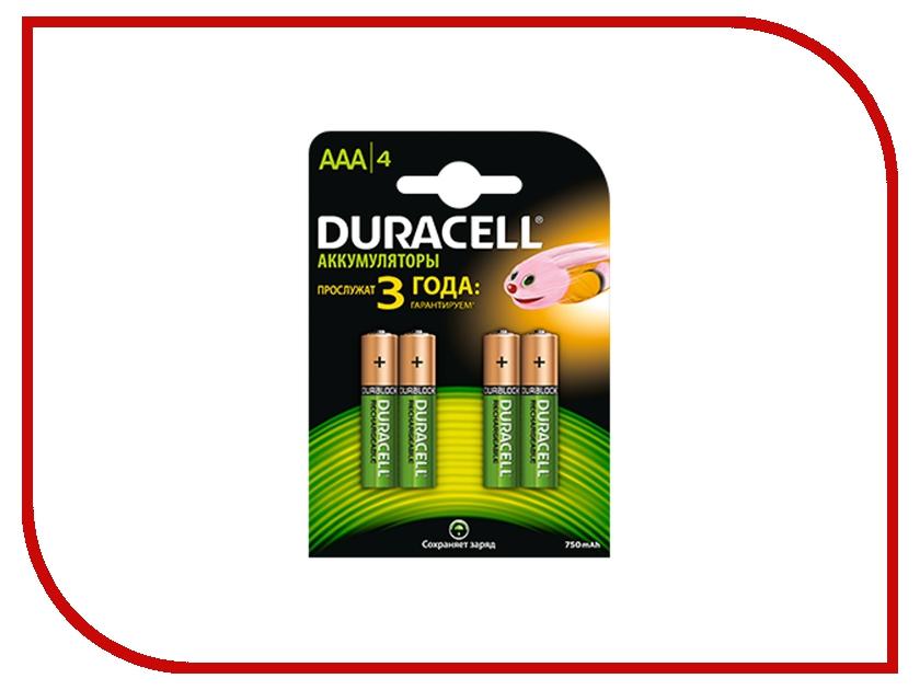 Аккумулятор AAA - Duracell HR03 750 mAh BL4 (4 штуки) набор аккумуляторов duracell recharge aaa nimh 750 mah 2 шт