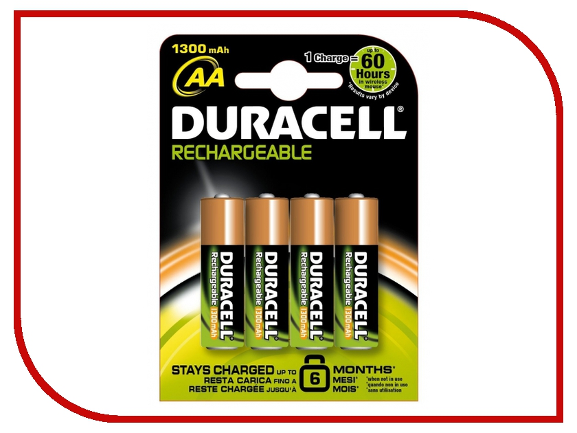 Аккумулятор AA - Duracell HR6 1300 mAh BL4 (4 штуки)<br>