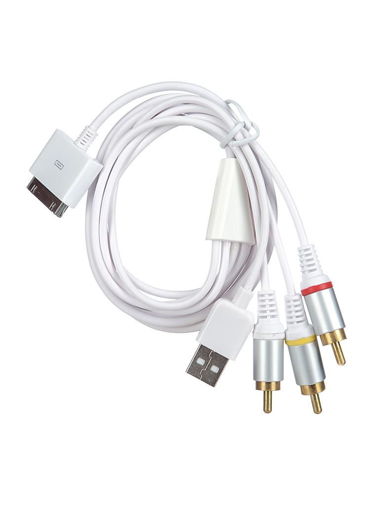 Аксессуар Oxion 30-pin M - USB/3 RCA M Adapter 15cm OX-ADP006WH White