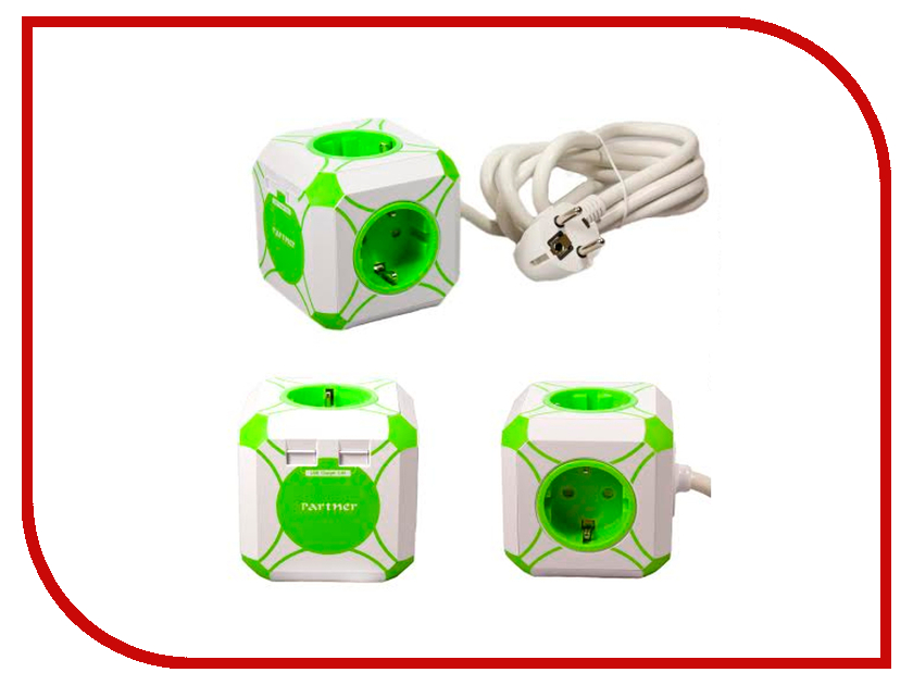 Сетевой фильтр Partner miniCUBE 2xUSB 2.4A ПР031770 универсальное<br>