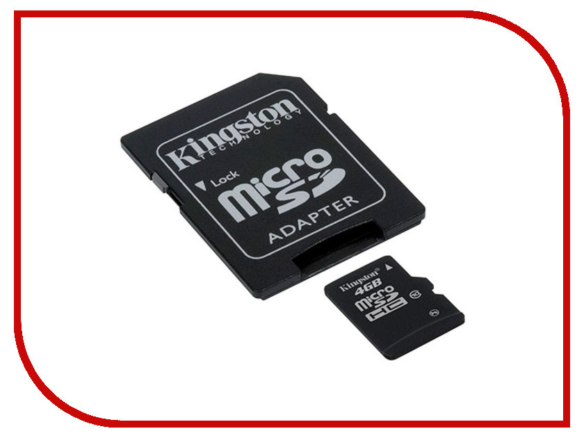 Карта памяти 4Gb - Kingston - Micro Secure Digital HC Class 4 SDC4/4GB с переходником под SD microsdhc kingston 4gb class 4 sdc4 4gbsp