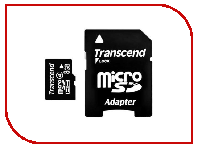 Карта памяти 8Gb - Transcend - Micro Secure Digital HC Class 4 TS8GUSDHC4 с переходником под SD transcend карта памяти 8gb secure digital class 6 transcend ts8gsdhc6 ts4gsdhc6