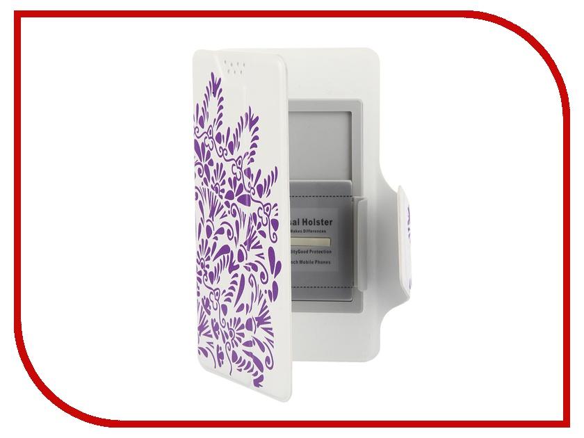 Аксессуар Чехол-книжка Media Gadget Clever LE SlideUP M 4.4-5.0-inch универсальный White, фиолетовый узор CSU052