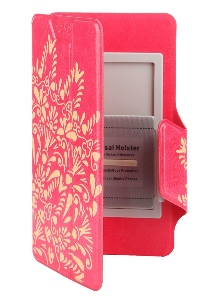 Аксессуар Чехол-книжка Media Gadget Clever LE SlideUP M 4.4-5.0-inch универсальный Red, золотой узор CSU054