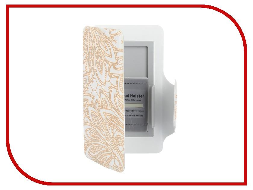 Аксессуар Чехол-книжка Media Gadget Clever LE SlideUP S 3.5-4.3-inch универсальный White, золотой узор CSU057<br>