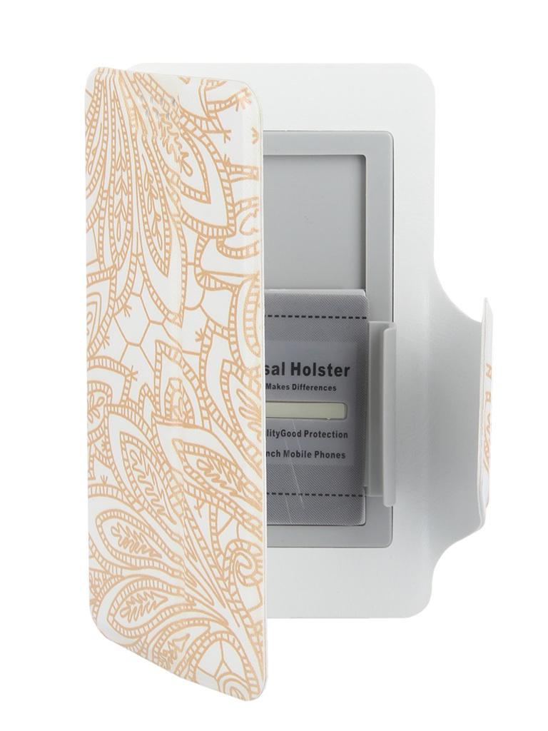 Аксессуар Чехол-книжка Media Gadget Clever LE SlideUP S 3.5-4.3-inch универсальный White, золотой узор CSU057