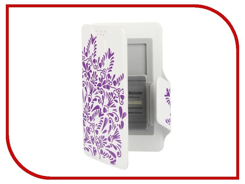 Аксессуар Чехол-книжка Media Gadget Clever LE SlideUP S 3.5-4.3-inch универсальный White, фиолетовый узор CSU053<br>