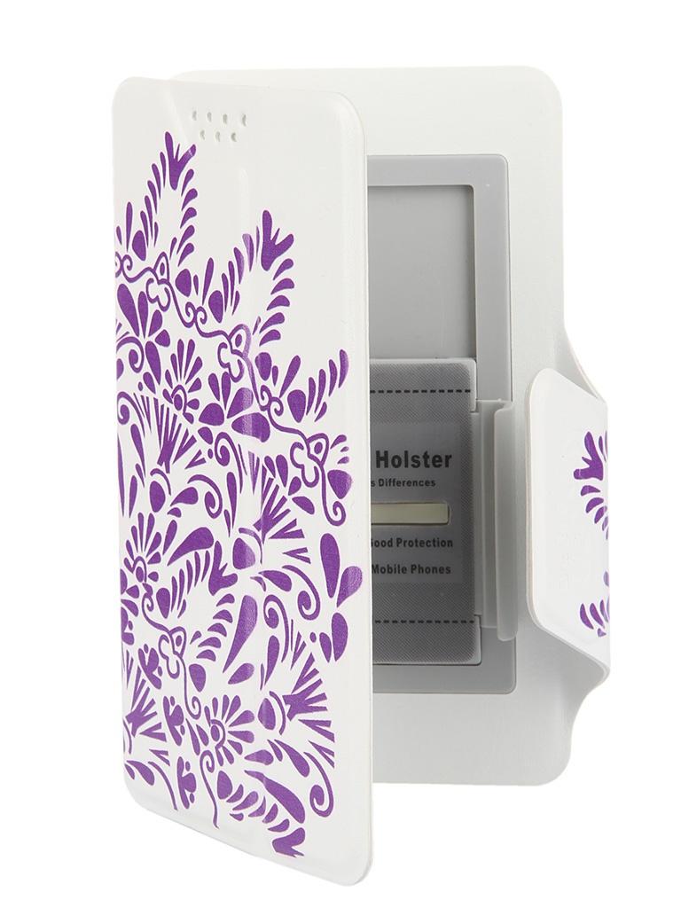 Аксессуар Чехол-книжка Media Gadget Clever LE SlideUP S 3.5-4.3-inch универсальный White, фиолетовый узор CSU053