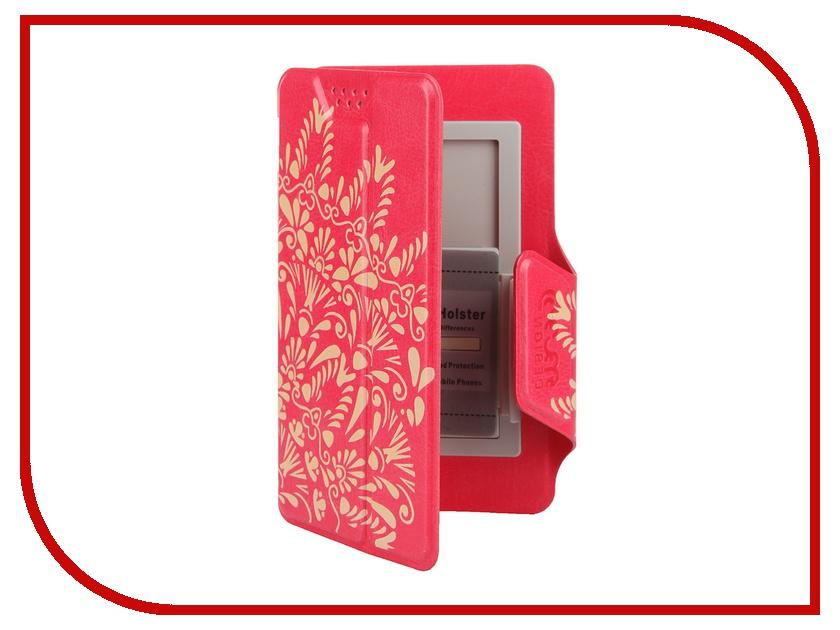 Аксессуар Чехол-книжка Media Gadget Clever LE SlideUP S 3.5-4.3-inch универсальный Red, золотой узор CSU055