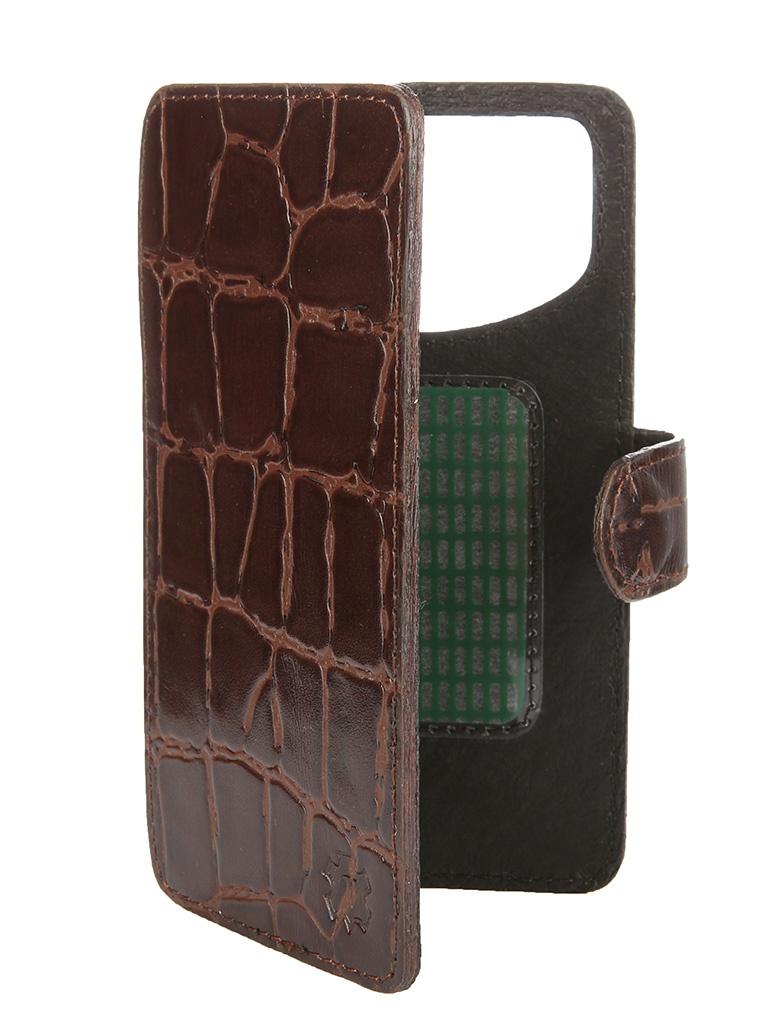 Аксессуар Чехол-книжка Time 4.3-4.5-inch универсальный, на клейкой основе Brown Crocodile