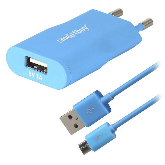 Зарядное устройство SmartBuy Satellite Combo USB + MicroUSB 1А SBP-2750 Blue<br>