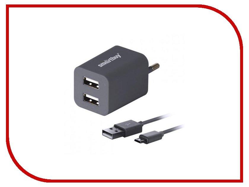 Зарядное устройство SmartBuy Traveler Combo 2xUSB + MicroUSB 2А Grey SBP-2950