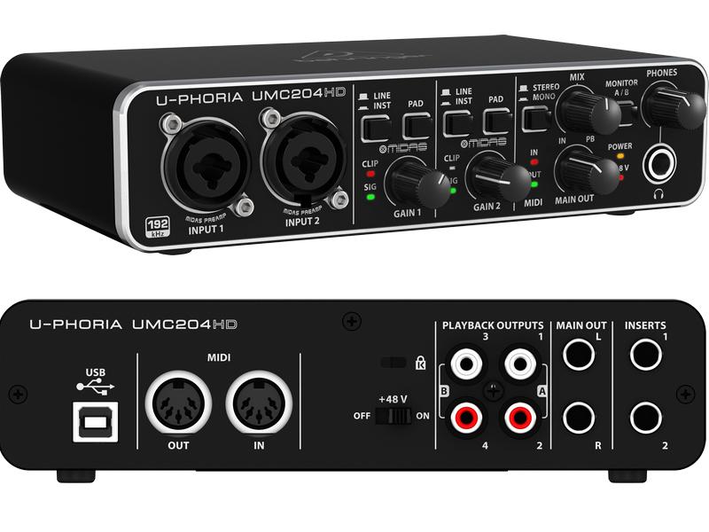 Аудиоинтерфейс Behringer U-PHORIA UMC204HD
