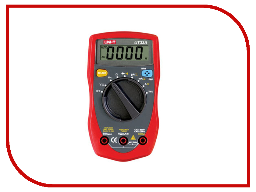 Мультиметр UNI-T UT33A Red-Black uni t ut207 ac 1000a digital 2 2 lcd clamp multimeter grey red 1 x 6lf22
