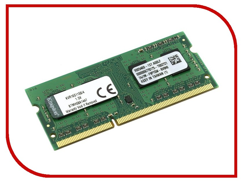 Модуль памяти Kingston DDR3 SO-DIMM 1600MHz PC3-12800 CL11 - 4Gb KVR16S11S8/4 модуль памяти hp 16gb 2rx4 pc3 12800r 11 kit 672631 b21