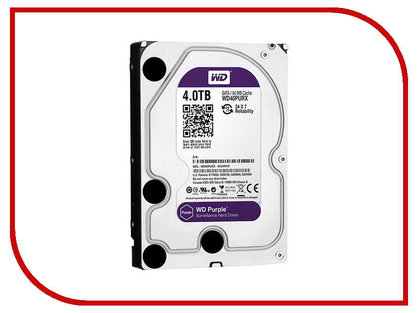 Жесткий диск 4Tb - Western Digital Purple WD40PURX жесткий диск 4tb western digital gold wd4002fyyz