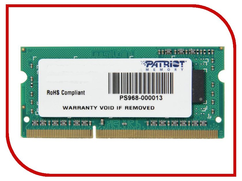 Модуль памяти Patriot Memory DDR3 SO-DIMM 1333MHz PC3-10600 CL9 - 4Gb PSD34G133381S jzl memoria pc3 10600 ddr3 1333mhz pc3 10600 ddr 3 1333 mhz 8gb lc9 240 pin desktop pc computer dimm memory ram for amd cpu