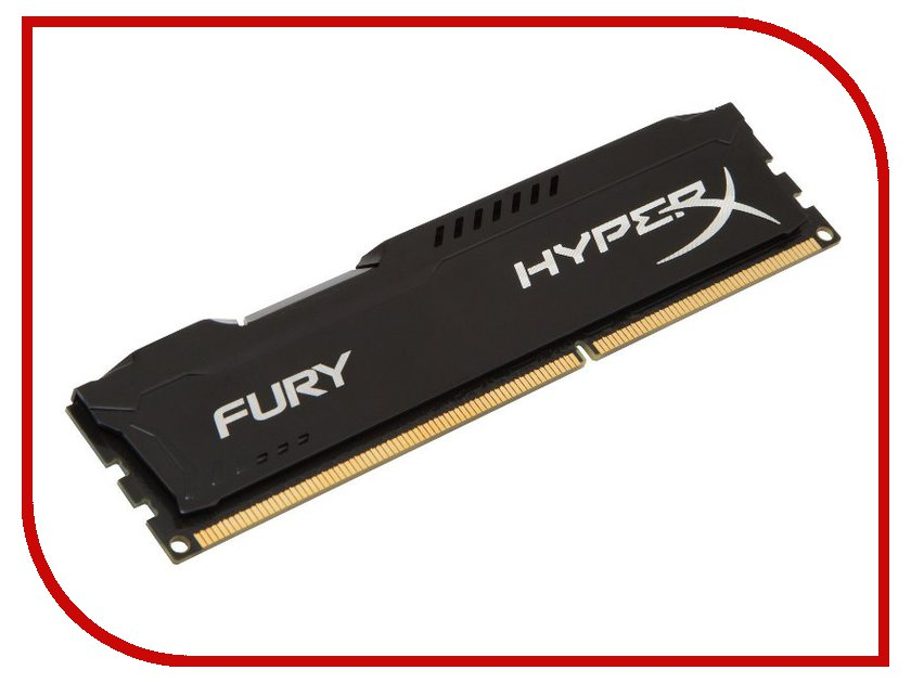 Картинка для Модуль памяти Kingston HyperX Fury Black DDR3 DIMM 1600MHz PC3-12800 CL10 - 4Gb HX316C10FB/4