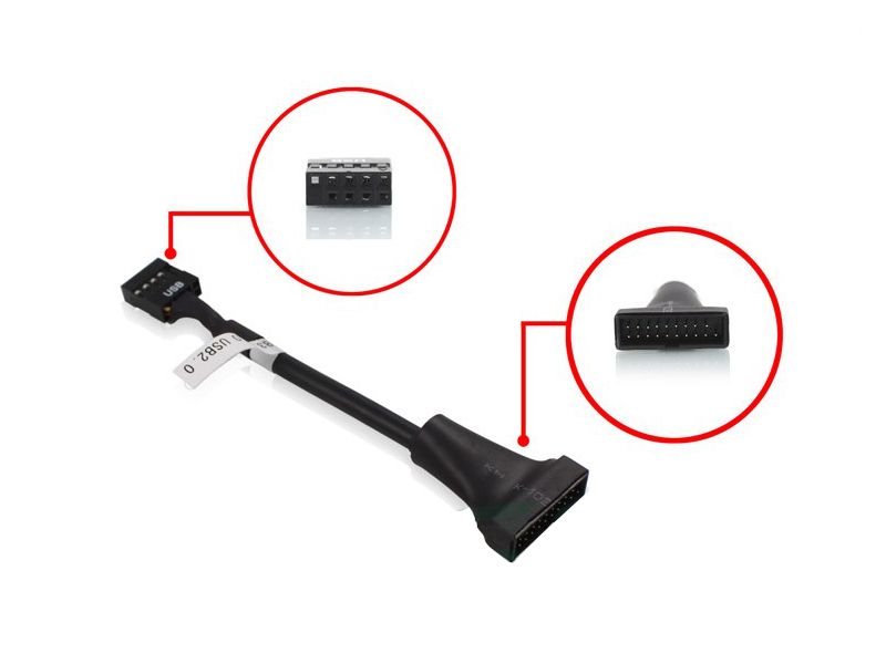 Аксессуар Переходник Greenconnect 8 pin USB 2.0 / 19 3.0 0.15m GC-U2U3