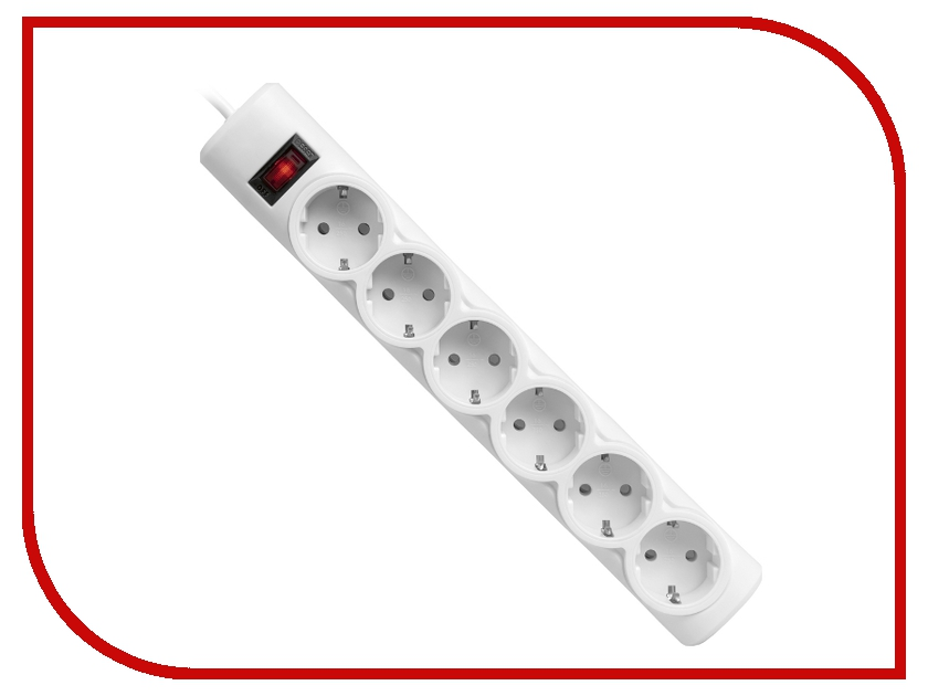 Сетевой фильтр Defender DFS 155 6 Sockets 5.0m White 99493<br>