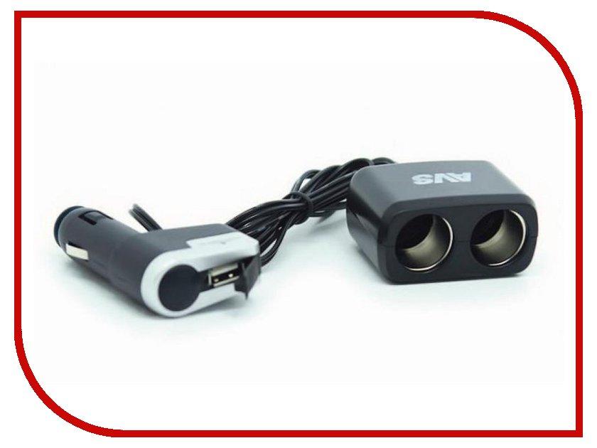 Аксессуар Разветвитель прикуривателя на 2 гнезда и 1 USB AVS CS213U 43256<br>