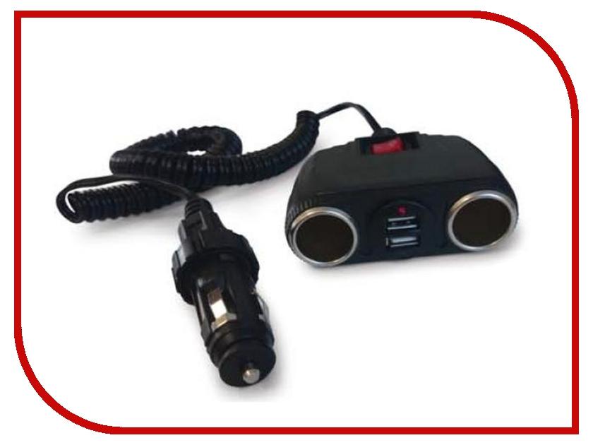 Аксессуар Разветвитель прикуривателя на 2 гнезда и 2 USB AVS CS230U A80922S<br>