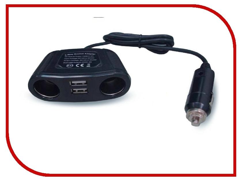 Аксессуар Разветвитель прикуривателя на 2 гнезда и 2 USB AVS CS220U 43263<br>