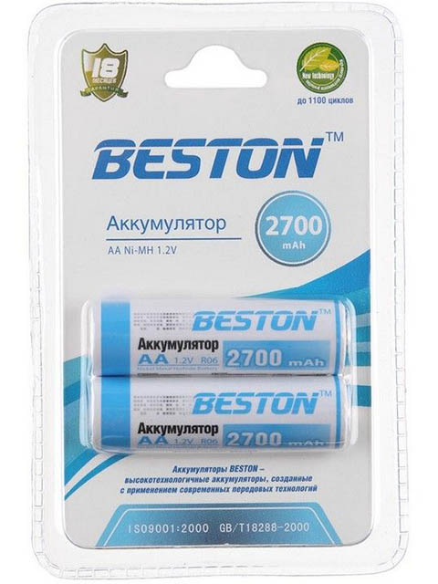Аккумулятор AA - BESTON 2700 mAh NiMH (2 штуки)