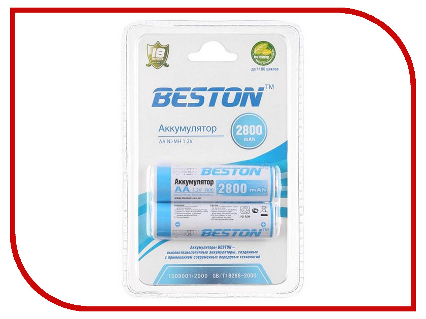 Аккумулятор AA - BESTON 2800 mAh NiMH (2 штуки)<br>