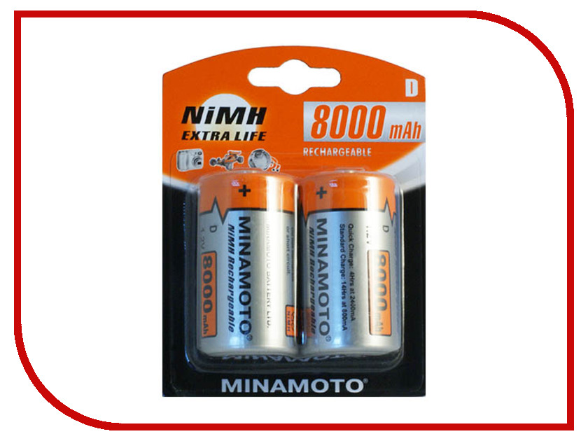 Аккумулятор D - MINAMOTO R20 8000 mAh NiMH (2 штуки)<br>