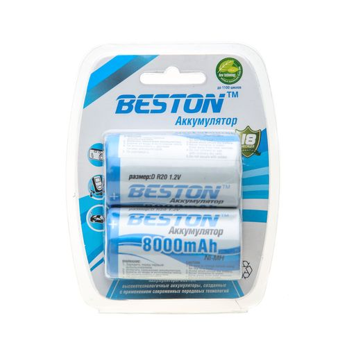Аккумулятор D - BESTON R20 8000 mAh NiMH (2 штуки)
