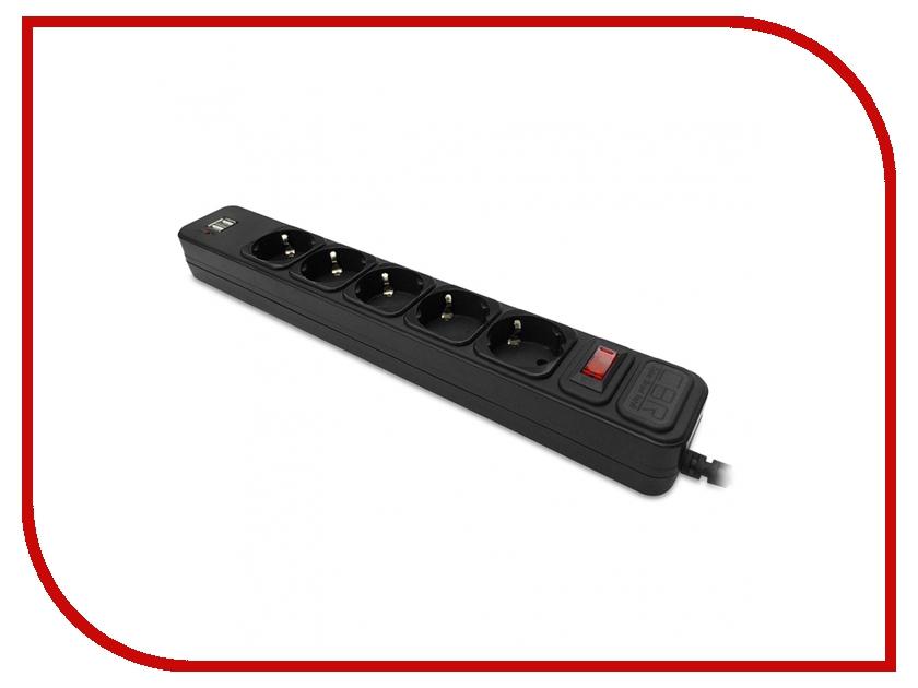 Сетевой фильтр CBR 5 Sockets 2 USB, 1,8m Black CSF 2500U-1,8