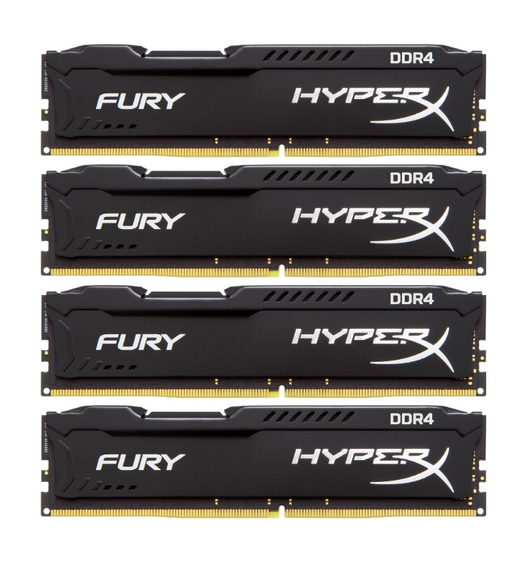 Модуль памяти Kingston HyperX Fury Black PC4-19200 DIMM DDR4 2400MHz CL15 - 16Gb KIT (4x4Gb) HX424C15FBK4/16