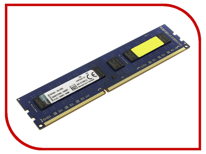Модуль памяти Kingston DDR3L DIMM 1600MHz PC3-12800 - 8Gb KVR16LN11/8<br>