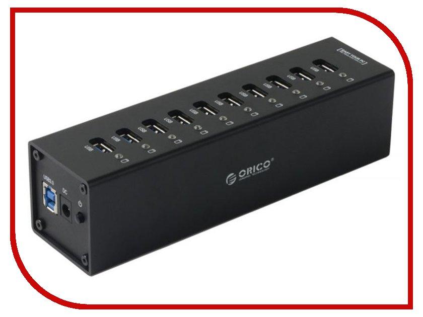 Orico A3H10-BK USB 10-Ports Black orico bta 403 bk mini csr8510a10 chipset bluetooth v4 0 usb 2 0 receiver black
