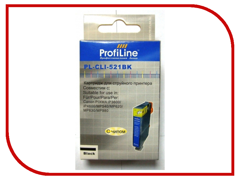 Картридж ProfiLine PL-CLI-521BK для Canon Pixma Ip3600/IP4600/MP540/MP620/MP630/MP980 с чипом картридж colouring cg cli 521bk black для canon ip3600 ip4600 mp540 mp620 mp630 mp980