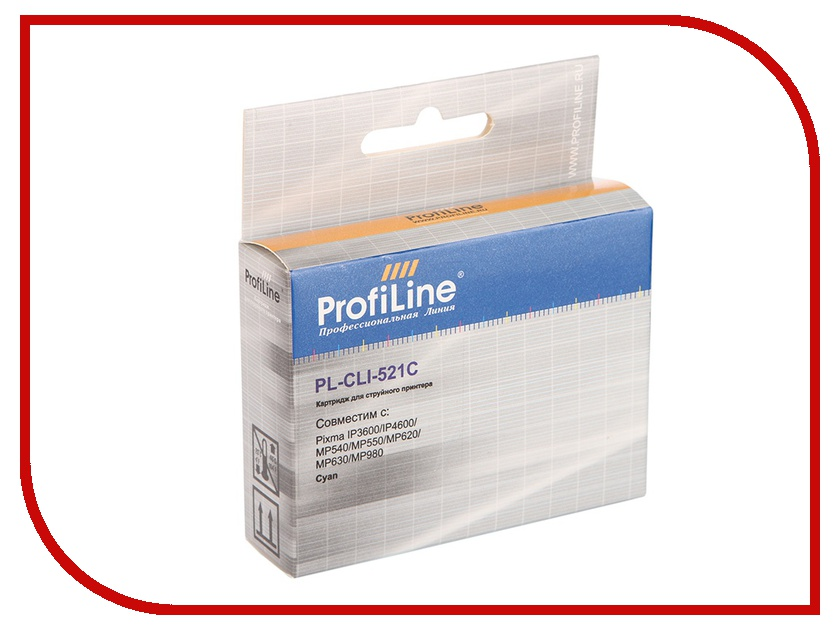 Картридж ProfiLine PL-CLI-521C для Canon Pixma IP3600/IP4600/MP540/MP550/MP620/MP630/MP980 с чипом картридж colouring cg cli 521bk black для canon ip3600 ip4600 mp540 mp620 mp630 mp980