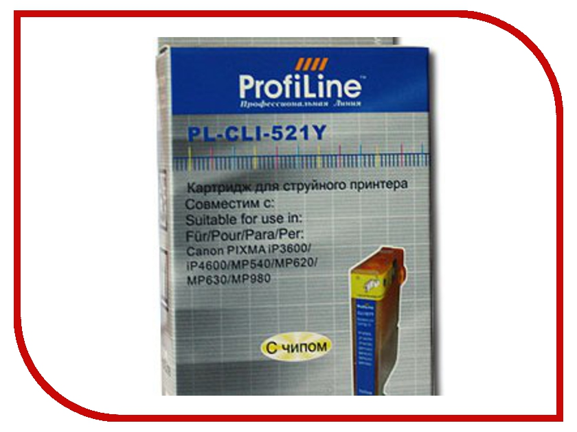 Картридж ProfiLine PL-CLI-521Y для Canon Pixma IP3600/IP4600/MP540/MP550/MP620/MP630/MP980 с чипом картридж colouring cg cli 521c cyan для canon ip3600 ip4600 mp540 mp550 mp620 mp630 mp980