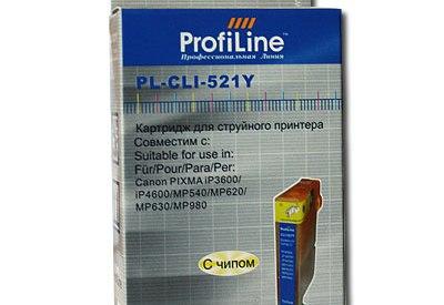 Картридж ProfiLine PL-CLI-521Y для Canon Pixma IP3600/IP4600/MP540/MP550/MP620/MP630/MP980 с чипом