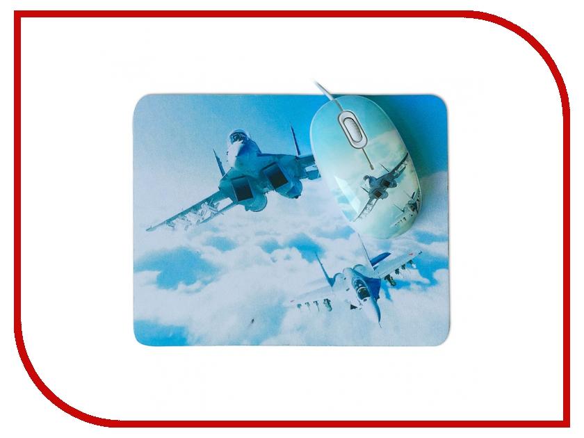 Мышь проводная CBR Aero Battle USB + коврик