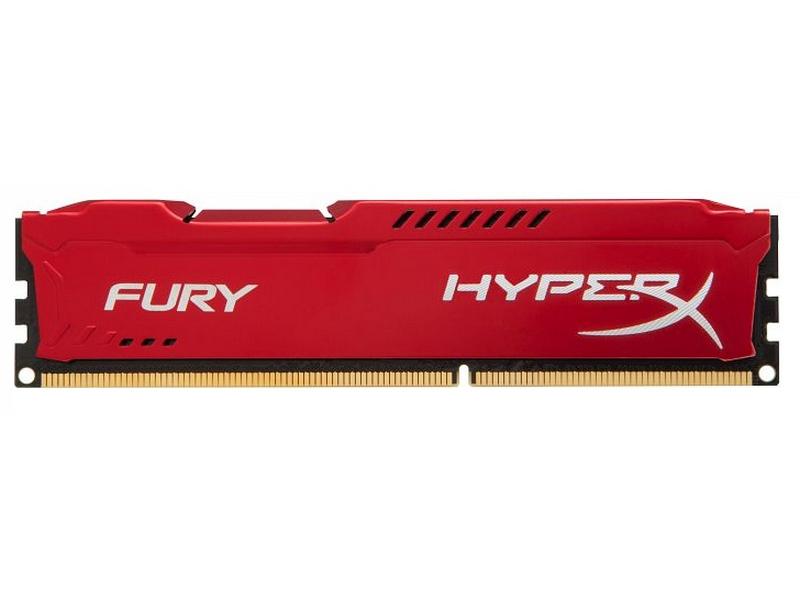Модуль памяти Kingston HyperX Fury Red Series DDR3 DIMM 1600MHz PC3-12800 CL10 - 4Gb HX316C10FR/4 модуль памяти kingston hyperx fury black series pc3 12800 dimm ddr3 1600mhz cl10 16gb kit 2x8gb hx316c10fbk2 16