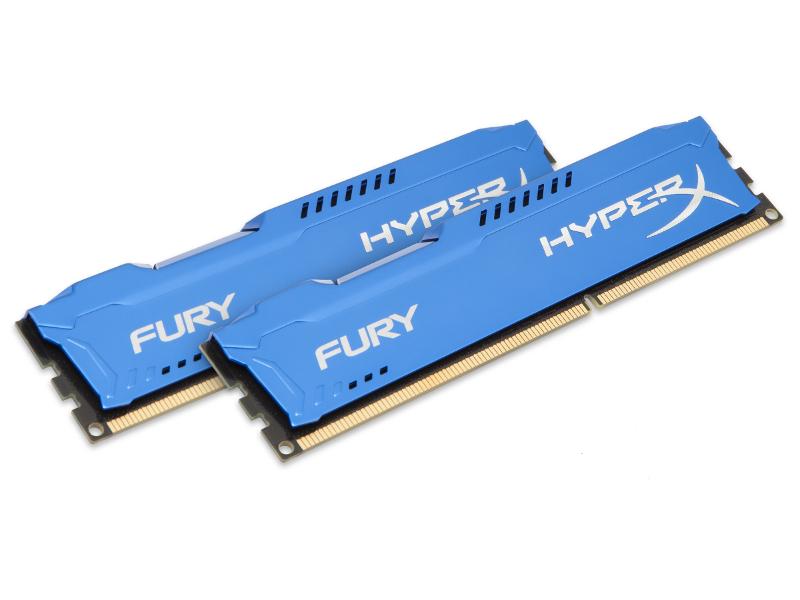 Модуль памяти Kingston HyperX Fury Blue Series PC3-15000 DIMM DDR3 1866MHz CL10 - 8Gb KIT (2x4Gb) HX318C10FK2/8 модуль памяти dimm 8gb ddr3 pc12800 1600mhz kingston hyperx fury blue series hx316c10f 8